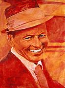 Frank Sinatra Framed Prints - Old Blue Eyes Framed Print by David Lloyd Glover