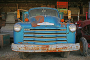 Rusted Cars Prints - Old Blue Farm truck Print by Randy Harris