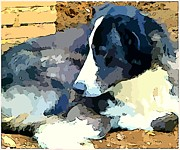 Puppy Digital Art Prints - Old Blue Print by Mindy Newman