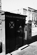 Information Prints - Old Blue Police Information Box And Red Telephone Box On Lawnmarket On The Royal Mile Edinburgh Scot Print by Joe Fox