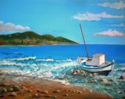 Old Boat At The Beah Print by Kostas Koutsoukanidis