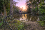 Boat Framed Prints Art - Old Boat House And Lake Sunset by Yhun Suarez