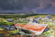 Old Boat On Shore Print by Conor McGuire