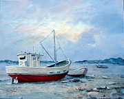 Bayous Painting Prints - Old Boats on Shore Print by Gary Partin