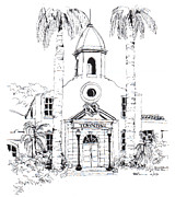 Hall Drawings Prints - Old Boca Raton City Hall Building Print by Robert Birkenes