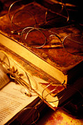 Pen  Metal Prints - Old books and glasses Metal Print by Garry Gay