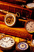Leather Prints - Old Books And Pocket Watches Print by Garry Gay