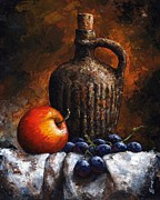 Still Life Mixed Media Framed Prints - Old bottle and fruit Framed Print by Emerico Imre Toth
