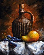 Fruit Still Life Mixed Media Framed Prints - Old bottle and fruit II Framed Print by Emerico Imre Toth