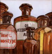Photorealism Painting Posters - Old Bottles Poster by Rob De Vries
