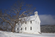 Boxley Valley Prints - Old Boxley Community Building and Church in Winter Print by Michael Dougherty