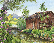 Old Barn Paintings - Old Braley Barn by Anne Gifford