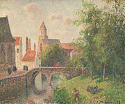 Vernacular Architecture Painting Prints - Old Bridge in Bruges  Print by Camille Pissarro