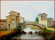 Italian White Poppy Paintings - Old bridge in Tuscany by Luciano Torsi