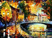 Cityscape Paintings - Old Bridge by Leonid Afremov