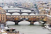 Florence Framed Prints - Old Bridge Under Snow Framed Print by Guido Agapito