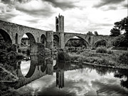 Black And White Photography Photos - Old Bridge With Reflection by By Gargomo