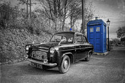 Black Car Prints - Old British Police Car And Tardis Print by Yhun Suarez