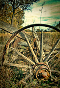Wagon Photos - Old Broken Wagon Wheel by Jill Battaglia
