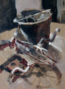 Tricycle Drawings - Old bucket and tricycle wheel by Stephen Boyle