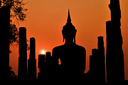 The Buddha Metal Prints - Old Buddha Silhouette In Sukhothai Historical Park Metal Print by Alexandre MOREAU