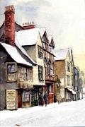 Brick Paintings - Old buildings in the snow. Vanishing Oxford. by Mike Lester