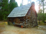 Pioneer Park Prints - Old Cabin - Yosemite Merced California Print by Glenn McCarthy Art and Photography