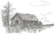 Country And Western Drawings - Old Cabin by Cathie Richardson