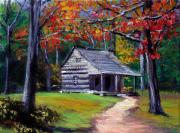 Impressionism Art - Old Cabin Plein Aire by David Lloyd Glover