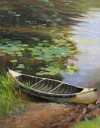 Canoe Metal Prints - Old Canoe Metal Print by Anna Bain