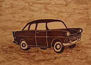 Chevrolet Painting Metal Prints - Old Car coffee painting Metal Print by Georgeta  Blanaru