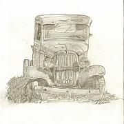 Junk Drawings - Old Car by M Oliveira