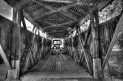 Old Car On Covered Bridge Print by Dan Friend