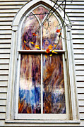 Fall Photos Prints - Old Carpenter Gothic Style Church Window in WV Fall Print by Kathleen K Parker