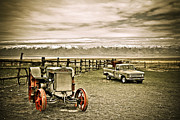 Ranch Prints - Old Case Tractor Print by Marilyn Hunt