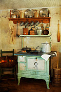 Antique Wood Burning Stove Posters - Old Cast Iron Cook Stove Poster by Carmen Del Valle
