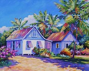 Clarke Paintings - Old Cayman Cottages by John Clark