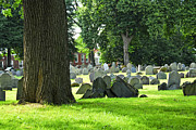 Headstone Photos - Old cemetery in Boston by Elena Elisseeva