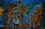 Wood Carving Art - Old Chief by Helen Carson