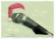 Microphone Digital Art Prints - Old Christmas Songs  Print by Tilly Williams