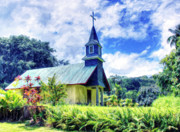 Kamuela Paintings - Old Church at Hana Maui by Dominic Piperata
