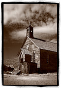 Sepia Posters - Old Church In Bodie California Poster by Steve Gadomski