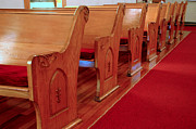 Decorative Benches Photo Framed Prints - Old Church Pews Framed Print by LeeAnn McLaneGoetz McLaneGoetzStudioLLCcom