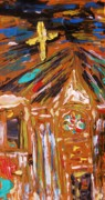 Visionary Art Drawings - Old City Church by Mary Carol Williams