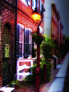 Streetlight Prints - Old City Streets - Elfreths Alley Print by Bill Cannon