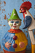 Folk Art Photos - Old Clown and Roster by Garry Gay