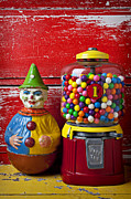 Costume Metal Prints - Old clown toy and gum machine  Metal Print by Garry Gay