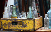Collectible Mixed Media Prints - Old Collector Bottles Print by AdSpice Studios