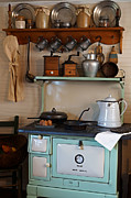 Oil Lamp Posters - Old Cook Stove Poster by Carmen Del Valle