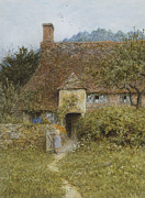 Victorian Gate Framed Prints - Old Cottage Witley Framed Print by Helen Allingham